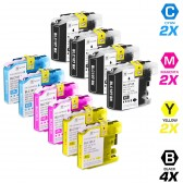 Brother Compatible LC107 and LC105 Set of 10 Ink Cartridges: 4 Black & 2 each of Cyan / Magenta / Yellow