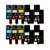 10 Pack Dell 1660w Series High Yield Toner Cartridge - 4 Black, 2 Cyan, 2 Yellow, 2 Magenta - Compatible