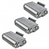Compatible Brother TN650 Set of 3 Black Laser Toner Cartridges - 24000 Page Yield