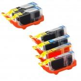 Canon PGI225 & CLI226 Compatible Set of 6 Ink Cartridges: 2 Pigment Black PGI-225, 1 each of CL-I226 B/C/M/Y