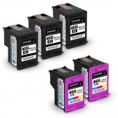 5 Pack Hp Deskjet 3755, 3 Black And 2 Tri-Color High Yield Ink Cartridges