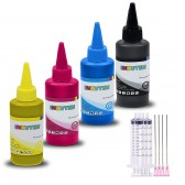 INKUTEN TM 4 Colors (4 x 120ml) - Refill Dye Ink Kit for EPSON 60 T060 Ink Cartridges, Refillables, CISS with syringes Black, Cyan, Magenta, Yellow Ink