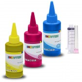 INKUTEN TM 3 X 120ML refill ink kit with syringes for EPSON 60 T060 ink Cartridges, Refillables, CISS Cyan, Magenta, Yellow