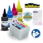 EMPTY 4 Refillable Cartridges for EPSON 288 T288 T288XL with 4x100ml Dye ink - for use in Expression XP-330 XP-430 XP-434