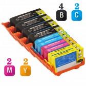 Replacement HP 920XL Set of 10 Inkjet Cartridges: 4 Black CD975AN, 2 Cyan  CD972AN, 2 Magenta CD973AN, 2 Yellow CD974AN