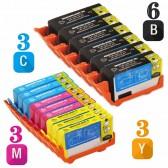 Replacement HP 920XL Set of 15 Inkjet Cartridges: 6 Black CD975AN, 3 Cyan  CD972AN, 3 Magenta CD973AN, 3 Yellow CD974AN