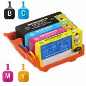 Replacement HP 920XL Set of 4 Inkjet Cartridges: Black CD975AN, Cyan  CD972AN, Magenta CD973AN, Yellow CD974AN