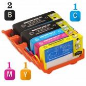 Replacement HP 920XL Set of 5 Inkjet Cartridges: 2 Black CD975AN, 1 Cyan  CD972AN, 1 Magenta CD973AN, 1 Yellow CD974AN