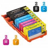 Replacement HP 920XL Set of 8 Inkjet Cartridges: 2 Black CD975AN, 2 Cyan  CD972AN, 2 Magenta CD973AN, 2 Yellow CD974AN