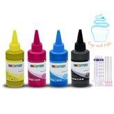 Edible Ink Refill Kit for HP Printers - 400 ml Edible Ink Bottles Black Cyan Magenta Yellow
