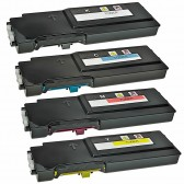 4 Pack Compatible Replacement Dell C2660dn, C2665dnf Toner Cartridge For Dell 593-BBBU, 593-BBBT, 593-BBBS, 593-BBBR High Yield