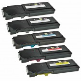 5 Pack Compatible Replacement Dell C2665dnf, C2660dn Toner Cartridge For Dell 593-BBBU, 593-BBBT, 593-BBBS, 593-BBBR High Yield