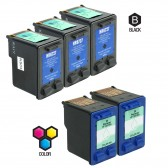 Compatible HP C8727AN HP 27 and C8728AN HP 28 Set of 5 Ink Cartridges Includes 3 Black and 2 Color Cartridge