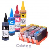 4 Refillable Cartridges for HP 920, HP 920XL, Auto Reset Chips (ARC) With 4 INK Refill Bottle SET 4,00ml Refill Ink