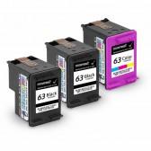 Replacement Hewlett Packard HP 63 F6U62AN F6U61AN (2 Black, 1 Tri-Color) Ink Cartridges