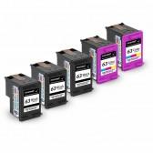 Replacement Hewlett Packard HP 63 F6U62AN F6U61AN (3 Black, 2 Tri-Color) Ink Cartridges