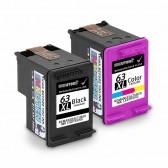 Replacement Hewlett Packard HP 63XL L0R44BN F6U64AN F6U63AN (1 Black, 1 Tri-Color) High Yield Ink Cartridges