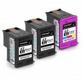 Replacement Hewlett Packard HP 63XL F6U64AN F6U63AN (2 Black, 1 Tri-Color) High Yield Ink Cartridges
