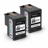 2 Pack HP L0R43BN F6U64AN (HP 63XL) High Yield Black Replacement Ink Cartridges