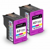 2 Pack Replacement HP 63 F6U61AN Twin Color Inkjet Cartridges