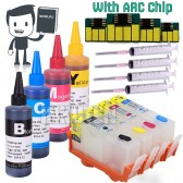 4 Refillable Cartridges for HP 564, HP 564XL, HP564 with 4x100ml Dye ink, Auto Reset Chips (ARC)