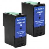2 Pack Lexmark 32 Compatible 18C0032 Black Inkjet Cartridges