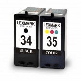 Lexmark 18C0034 (#34) and 18C0035 (#35) Set of 1 Black & 1 Color Ink Cartridges