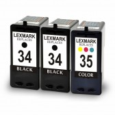 Lexmark 18C0034 (#34) and 18C0035 (#35) Set of 2 Black & 1 Color Ink Cartridges