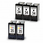 Lexmark 18C0034 (#34) and 18C0035 (#35) Set of 3 Black & 2 Color Ink Cartridges