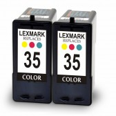 2 Pack Remanufatured Lexmark 18C0035 (#35) High Yield Color Ink Cartridges