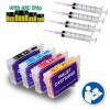 4 Refillable Cartridges for EPSON 252 T252 T254 WorkForce WF-3620, WorkForce WF-3640, WorkForce WF-7610, WorkForce WF-762 Auto Reset Chips (Pre-filled)